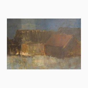 Modernes Landschaft mit Häusern und Meer Gemälde von Per Damm, 1962