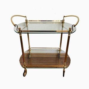 Carrito de latón dorado y vidrio, años 60