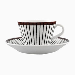Mid-Century Model Spisa Ribb Coffee Cups and Saucers Set by Stig Lindberg for Gustavsberg