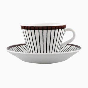Mid-Century Modell Spisa Ribb Kaffeetassen und Untersetzer von Stig Lindberg für Gustavsberg