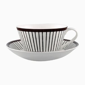 Mid-Century Model Spisa Ribb Tea Cups and Saucers Set by Stig Lindberg for Gustavsberg, 1950s