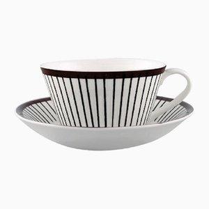 Mid-Century Modell Spisa Ribb Tea Tassen und Untersetzer Set von Stig Lindberg für Gustavsberg, 1950er