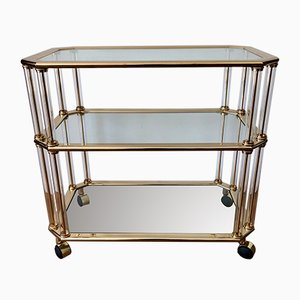 Italian Golden Brass and Plexiglass Trolley, 1950s