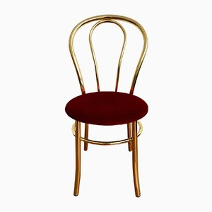 Golden and Red Velvet Folding Chair, 1960s