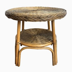 Mid-Century Bamboo Side Table