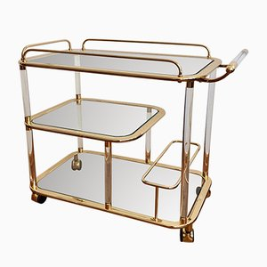 Italian Gold Brass and Plexiglass Bar Cart, 1950s