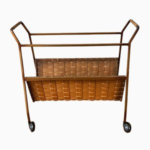 Rattan and Brass Magazine Rack, 1970s