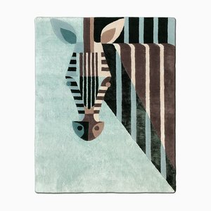 Royal Teal Zebra Carpet in Bamboo Silk and New Zealand Wool by Josh Brill for Junior Monarch