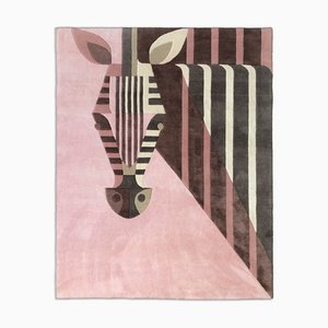 New Zealand Wool and Chinese Silk Blend Bon Bon Zebra Carpet by Josh Brill for Junior Monarch