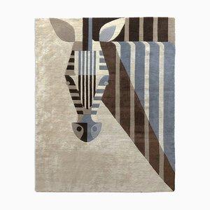 Biscuit Zebra Teppich aus neuseeländischer Wolle & chinesischer Seidenmischung von Josh Brill für Junior Monarch