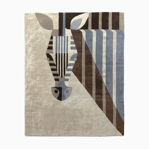 New Zealand Wool and Chinese Silk Blend Biscuit Zebra Carpet by Josh Brill for Junior Monarch