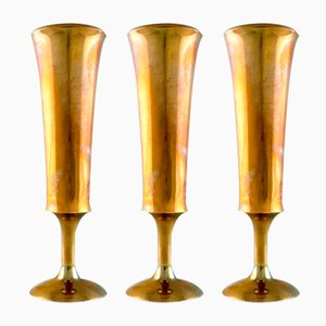 Scandinavian Brass Vases, 1960s, Set of 3