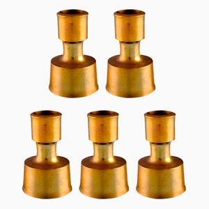 Danish Brass Candleholders by Jens Quistgaard, 1960s, Set of 5