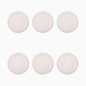 White Model Cordial Palet Lunch Plate by Jens Quistgaard for Bing & Grondahl, 1960s, Set of 6