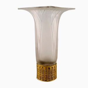 Vintage Art Glass and Brass Model Lotus Vase by René Lalique