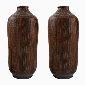 Glazed Stoneware Vases from Wallåkra, 1950s, Set of 2