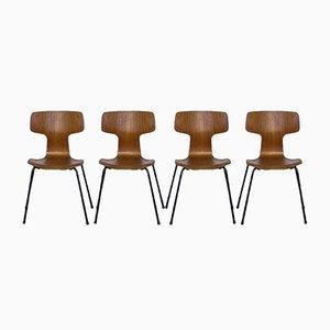 Model 3103 Teak Hammer Dining Chairs by Arne Jacobsen for Fritz Hansen, 1968, Set of 4