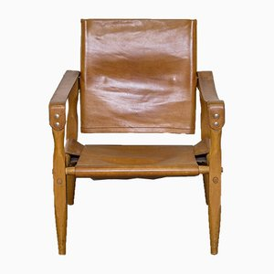 Cognac Leather Safari Armchair, 1960s