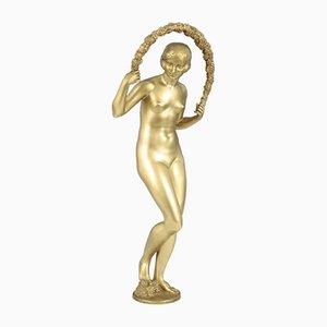 Escultura Art Déco de bronce de Joe Descomps, años 20