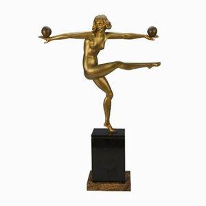 Escultura francesa Art Déco de bronce de Marcel André Bouraine, años 20