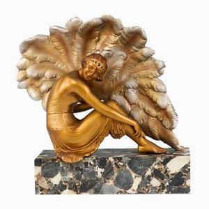 Escultura Art Déco de zinc de Van De Voorde, años 20