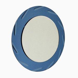 Espejo italiano Mid-Century redondo azul, años 60