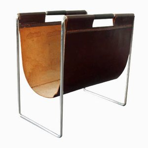 Dutch Leather Magazine Rack from Brabantia, 1960s