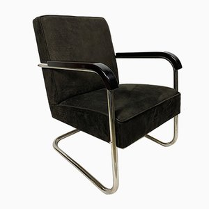 Leather and Tubular Steel Armchair, 1930s
