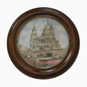 Antiker englischer Keramikbehälter aus Mahagoni & Keramik, 1860er