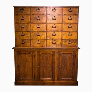 Large French Pinewood Filing Cabinet, 1920s