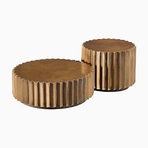 Tables d'Appoint Facettées Doris en Bronze Coulé de Fred & Juul