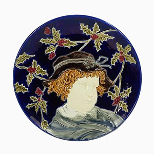 Large Antique Wall Plate from Sarreguemines, 1880s