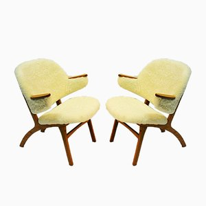 Mid-Century White Sheepskin Lounge Chairs from Solliden møbler , 1950s, Set of 2