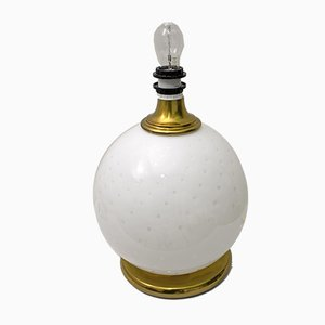 Mid-Century Tischlampe aus Messing & Muranoglas, 1970er