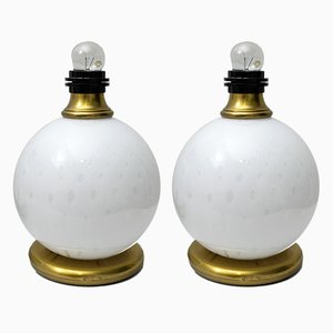 Mid-Century Brass and Murano Glass Table Lamps, 1970s, Set of 2