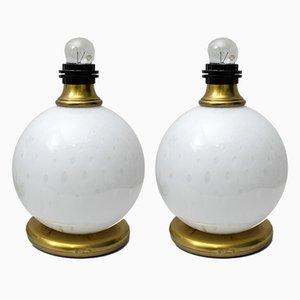 Mid-Century Tischlampen aus Messing & Muranoglas, 1970er, 2er Set