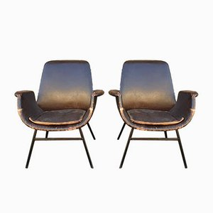Leather Armchairs by Alvin Lustig for Stol Kamnik, 1960s, Set of 2