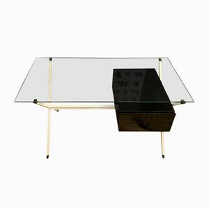 Oak and Smoked Glass Desk by Franco Albini for Knoll Inc. / Knoll International, 1970s