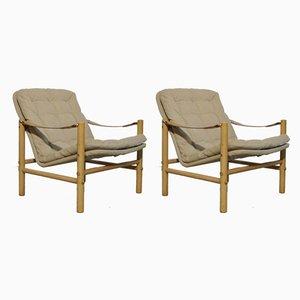 Schwedische Modell Junker Safari Armlehnstühle aus Buche von Bror Boije für Dux, 1960er, 2er Set