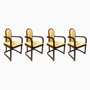Beech Armchairs, 1930s, Set of 4