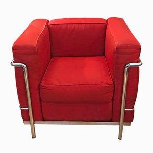 Vintage Modell LC2 Sessel mit verchromtem Gestell von Le Corbusier für Cassina, 1990er