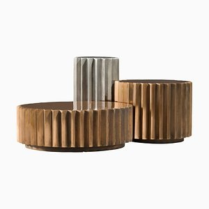 Set de Tables d'Appoint Multi Facettes Doris en Aluminium et Bronze Coulé de Fred & Juul