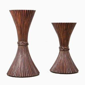 American Sheaf of Wheat Console Tables from McGuire, 1970s, Set of 2