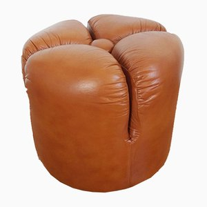 Italian Leather Pouf, 1980s
