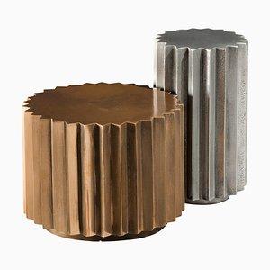 Set de Tables d'Appoint Multi Facettes Doris en Bronze Coulé et Aluminium de Fred & Juul