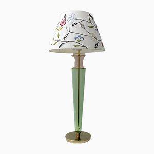 Italienische Tischlampe aus Messing & Muranoglas, 1980er