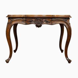 Mesa de comedor francesa estilo Luis XV antigua de forma sinuosa de nogal