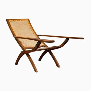 Antique Edwardian Teak Garden Lounge Chair