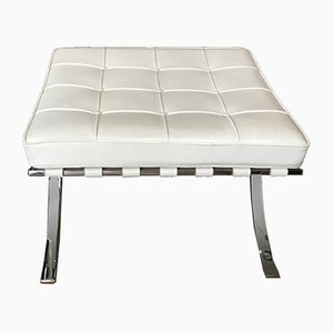 White Leather Ottoman by Ludwig Mies van der Rohe for Knoll Inc. / Knoll International, 1990s