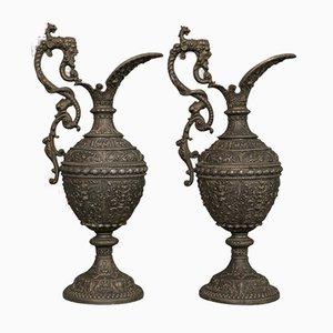 Aiguières Antiques en Bronze, France, Set de 2